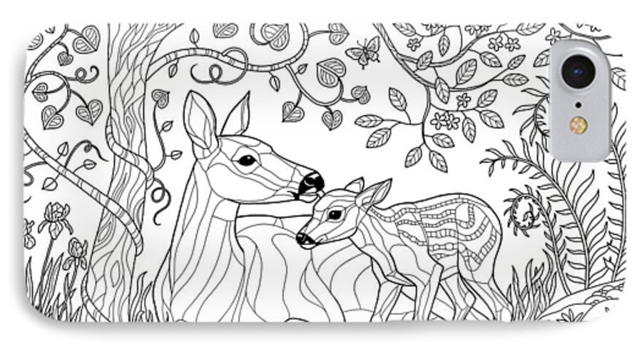 Deer Fantasy Forest Coloring Page Iphone 8 Case For Sale By Crista