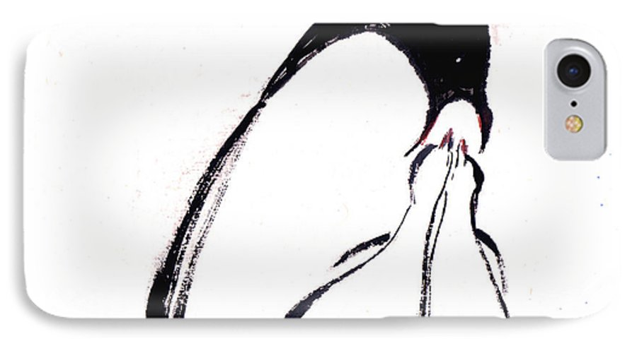 An Adult Penguin Feeding The Babies. This Is A Contemporary Chinese Ink And Color On Rice Paper Painting With Simple Zen Style Brush Strokes.  IPhone Case featuring the painting Feeding by Mui-Joo Wee