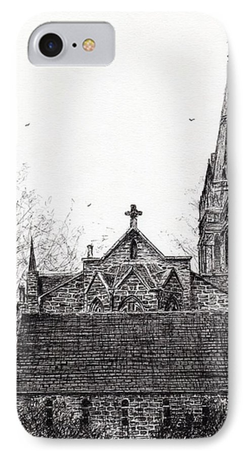 Parish IPhone 8 Case featuring the drawing Glenmuick Church by Vincent Alexander Booth