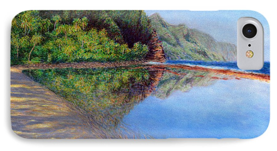 Rainbow Colors Pastel IPhone Case featuring the painting Ke'e Morning by Kenneth Grzesik