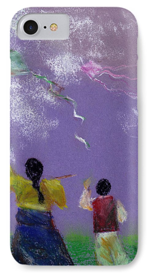 Flying Kite In A Sunny Day-oil Pastel IPhone Case featuring the drawing Kite Flying by Mui-Joo Wee