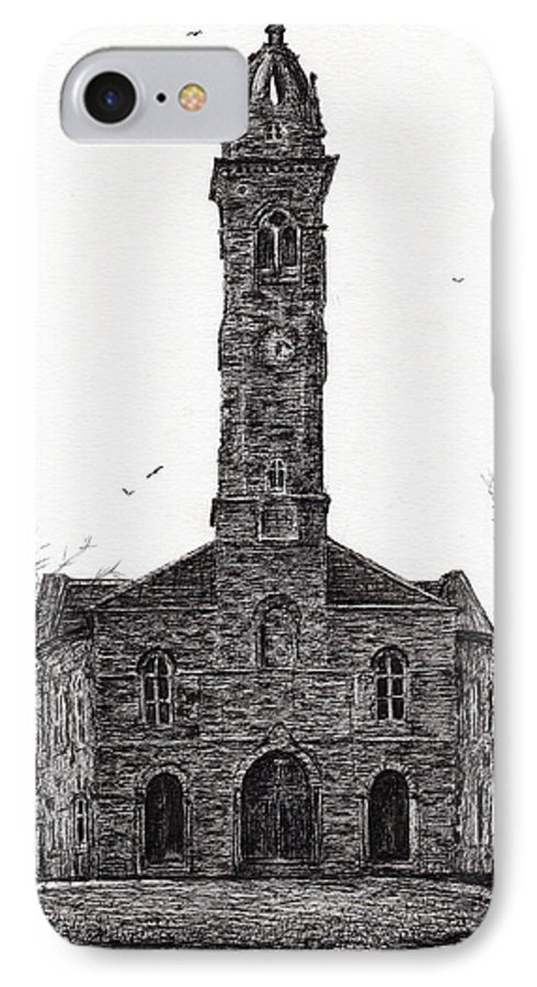 Lorne IPhone 8 Case featuring the drawing Lorne And Lowland Parish Church by Vincent Alexander Booth
