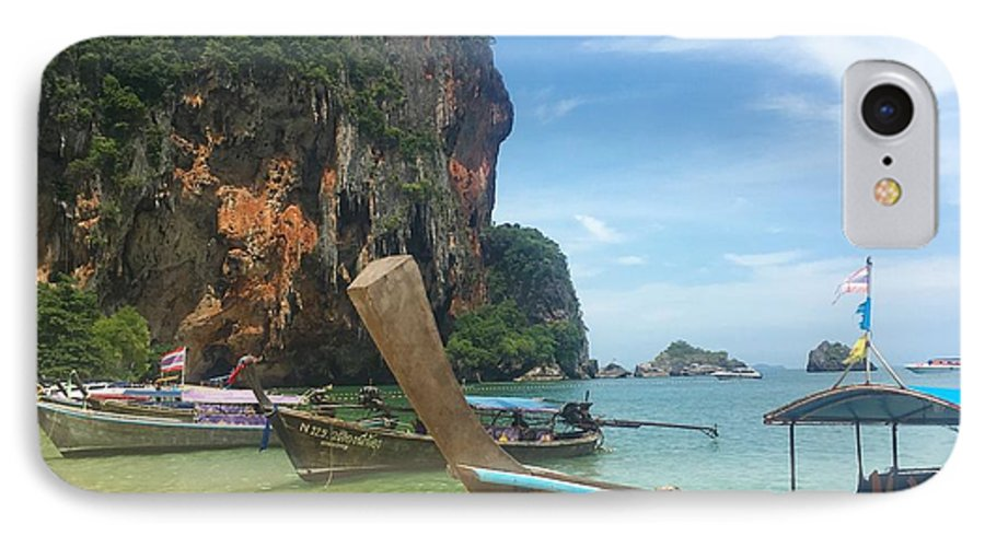 Thailand IPhone 8 Case featuring the photograph Lounging Longboats by Ell Wills