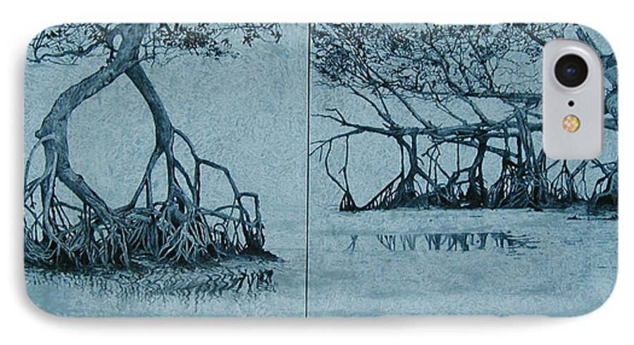 Blue IPhone Case featuring the painting Mangroves by Leah Tomaino