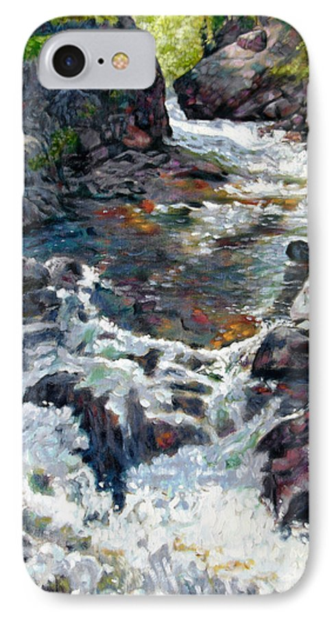 A Fast Moving Stream In Colorado Rocky Mountains IPhone Case featuring the painting Rushing Waters by John Lautermilch