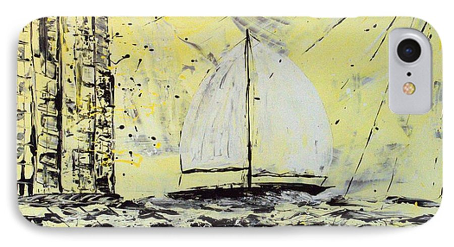 Abstract IPhone Case featuring the painting Sail And Sunrays by J R Seymour