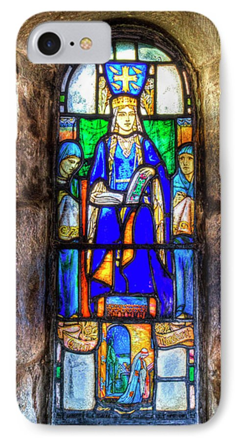Saint Margaret Of Scotland Stained Glass Window IPhone 8 Case featuring the photograph Stained Glass Window Edinburgh by David Pyatt