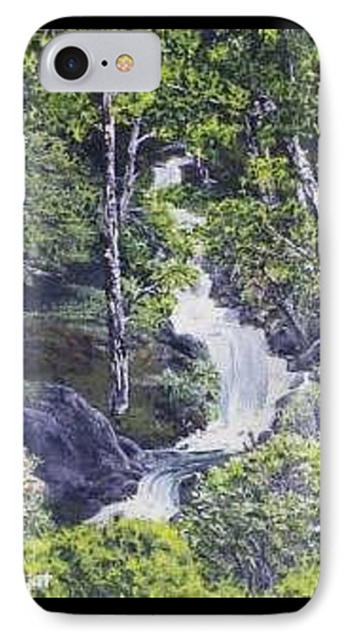 This Is A Lovely Waterfall We Saw On The Way Back Home From Mount Hood Oregon. IPhone Case featuring the painting Through The Woods by Darla Boljat