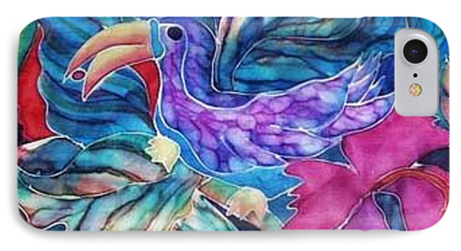Tropical IPhone Case featuring the painting Toucan Two by Francine Dufour Jones