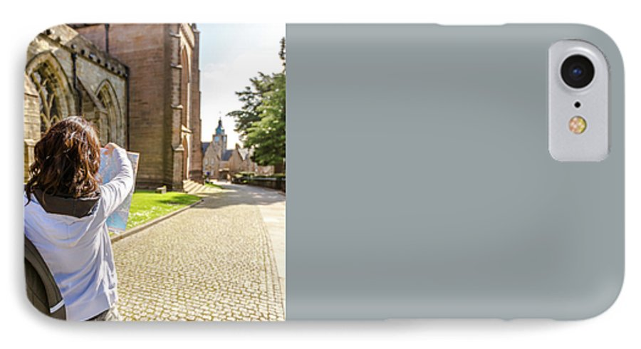 Young Woman IPhone 8 Case featuring the photograph Tourist Visits Stirling by Benny Marty