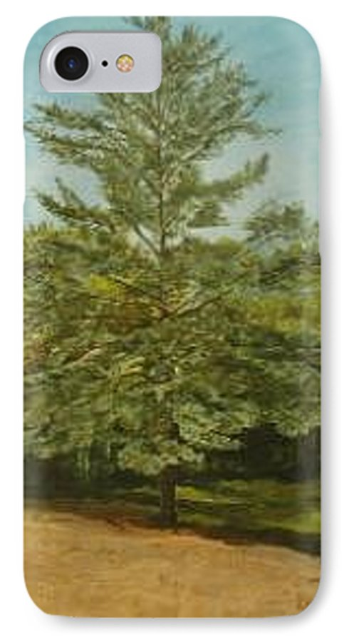 Pine Tree IPhone Case featuring the painting White Lake by Leah Tomaino