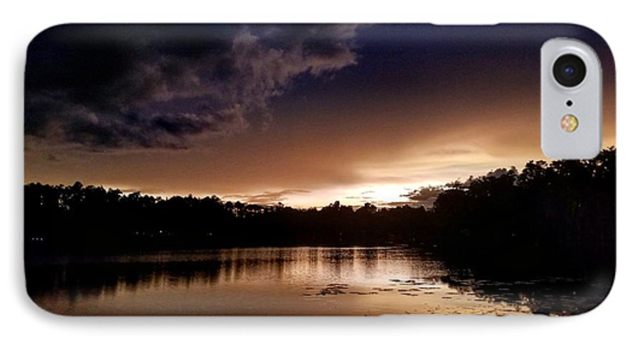 Sunset IPhone 8 Case featuring the photograph Dark Reflections by Shena Sanders