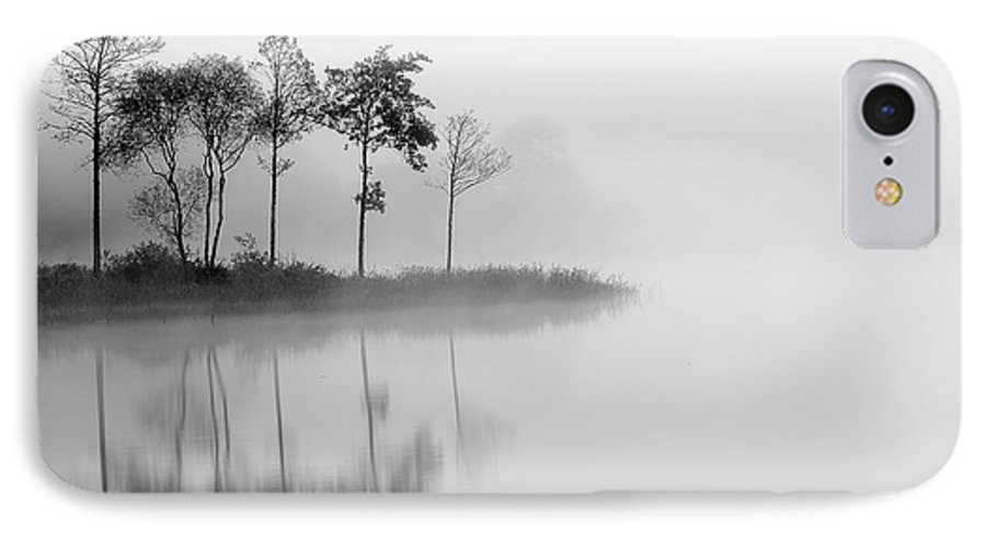 The Trossachs IPhone 8 Case featuring the photograph Loch Ard Trees In The Mist Reflecting by Targn Pleiades