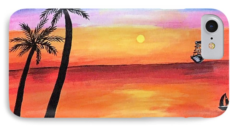 Canvas IPhone 8 Case featuring the painting Scenary by Aswini Moraikat Surendran