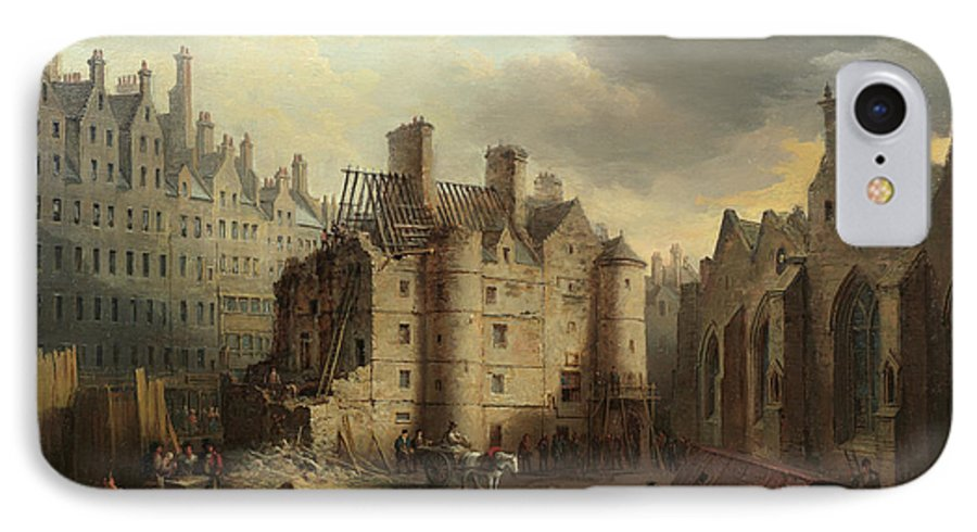 The Old Tolbooth IPhone 8 Case featuring the painting The Old Tolbooth, Edinburgh by Alexander Nasmyth