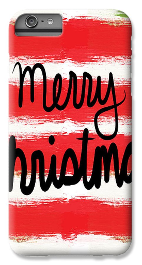 Christmas Card IPhone 8 Plus Case featuring the mixed media Merry Christmas- Greeting Card by Linda Woods