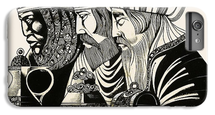 Christmas; Epiphany; Wise Men; Kings; Three Kings; Adoration Of The Magi; Gold; Frankincense; Myrrh; Jesus Christ; Birth; Christ; Religion; Christianity; Three Wise Men; Nativity IPhone 8 Plus Case featuring the drawing Three Kings by Richard Hook