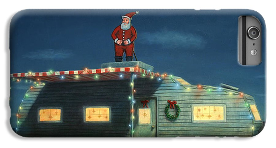 Christmas IPhone 8 Plus Case featuring the painting Trailer House Christmas by James W Johnson