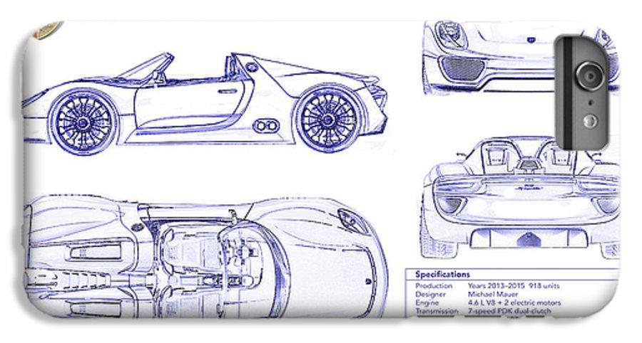 Porsche 918 Spyder Blueprint Iphone 8 Plus Case