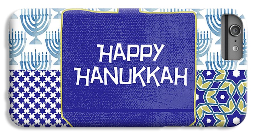 Hanukkah IPhone 8 Plus Case featuring the painting Happy Hanukkah Dreidel 1- Art By Linda Woods by Linda Woods