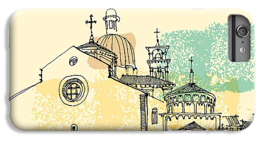 Door IPhone 8 Plus Case featuring the digital art Vector Illustration Of Padua Cathedral by Babayuka
