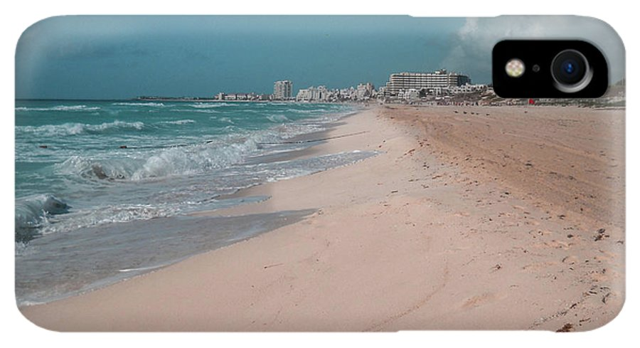 Beach IPhone XR Case featuring the digital art Beautiful Beach In Cancun, Mexico by Nicolas Gabriel Gonzalez