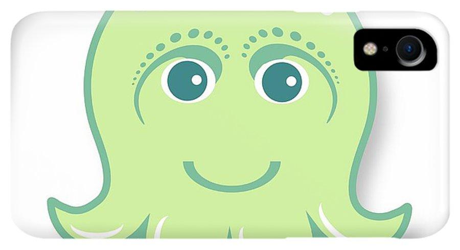 Little Octopus IPhone XR Case featuring the digital art Little Cute Green Octopus by Ainnion