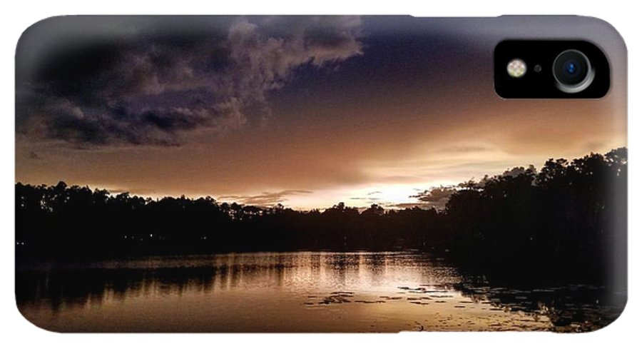 Sunset IPhone XR Case featuring the photograph Dark Reflections by Shena Sanders