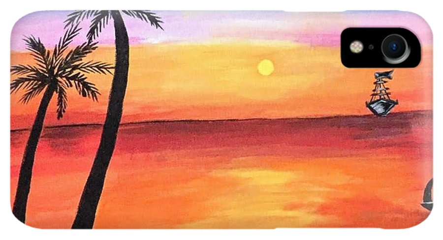 Canvas IPhone XR Case featuring the painting Scenary by Aswini Moraikat Surendran