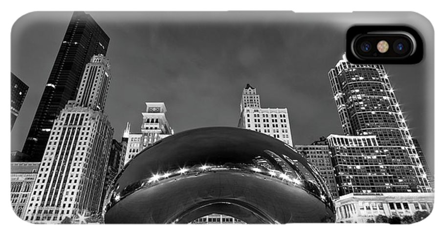 3scape IPhone XS Max Case featuring the photograph Cloud Gate And Skyline by Adam Romanowicz