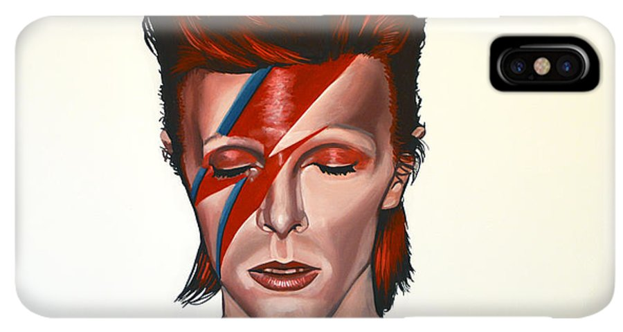 David Bowie IPhone XS Max Case featuring the painting David Bowie Aladdin Sane by Paul Meijering
