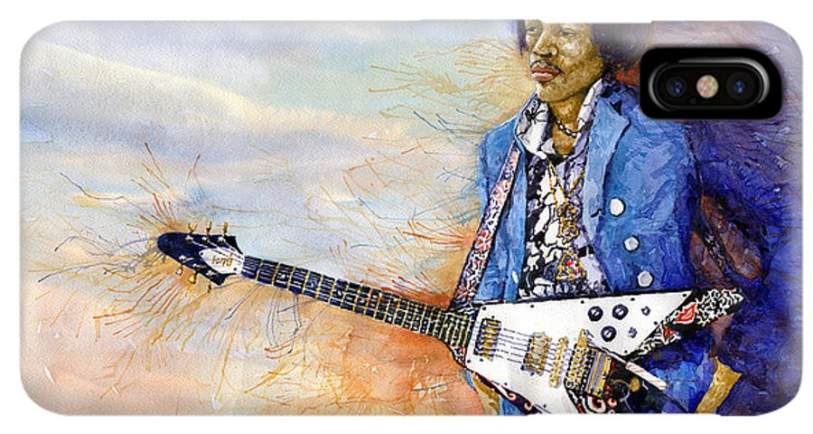 Watercolor IPhone XS Max Case featuring the painting Jimi Hendrix 10 by Yuriy Shevchuk