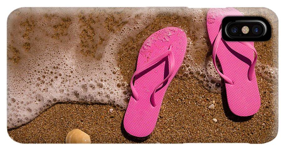 90063e7f4b96 Water IPhone XS Max Case featuring the photograph Pink Flip Flops On The  Beach by Teri