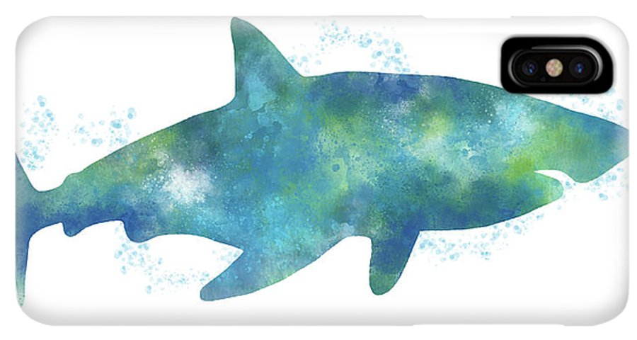 Blue Watercolor Shark Art By Linda Woods Iphone Xs Max Case