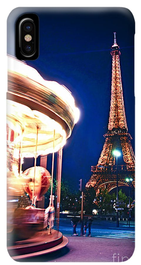 Carousel IPhone XS Max Case featuring the photograph Carousel And Eiffel Tower by Elena Elisseeva