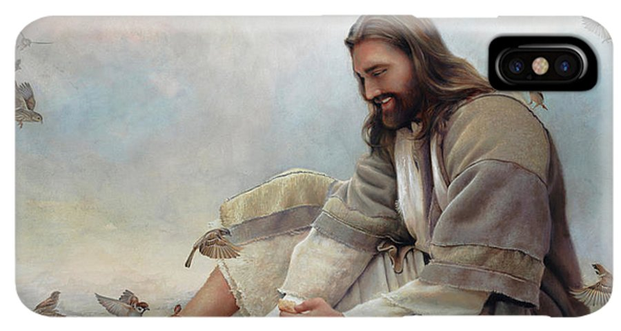 Jesus IPhone XS Max Case featuring the painting Even A Sparrow by Greg Olsen