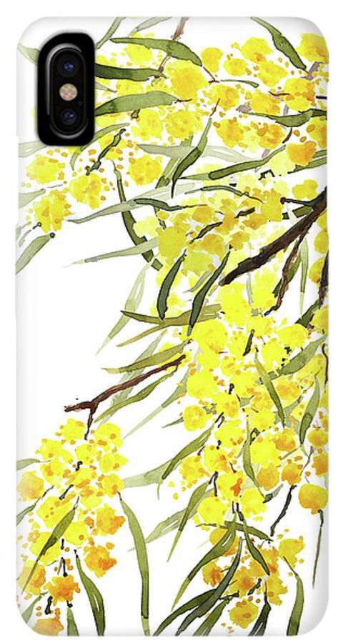 Golden Wattle Flowers Watercolor Iphone Xs Max Case
