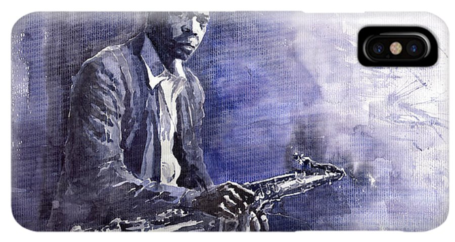 Figurative IPhone XS Max Case featuring the painting Jazz Saxophonist John Coltrane 03 by Yuriy Shevchuk