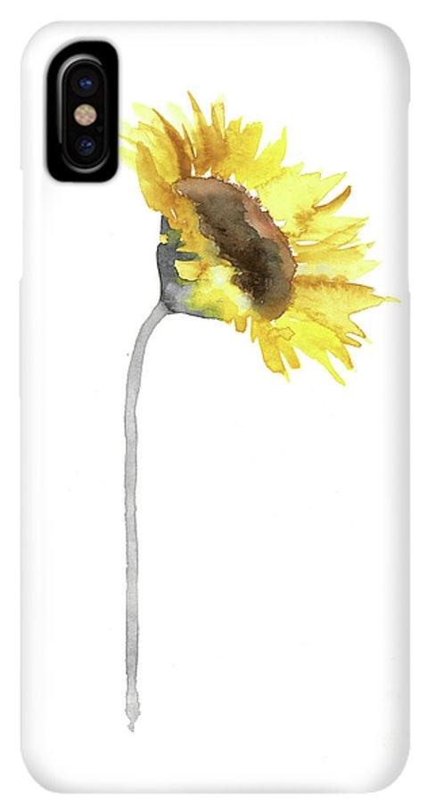 Sunflower Wall Decor Watercolor Painting Yellow Flower Gray Stem Minimalist Art Print Iphone Xs Max Case