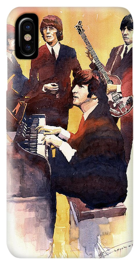 Watercolor IPhone XS Max Case featuring the painting The Beatles 01 by Yuriy Shevchuk