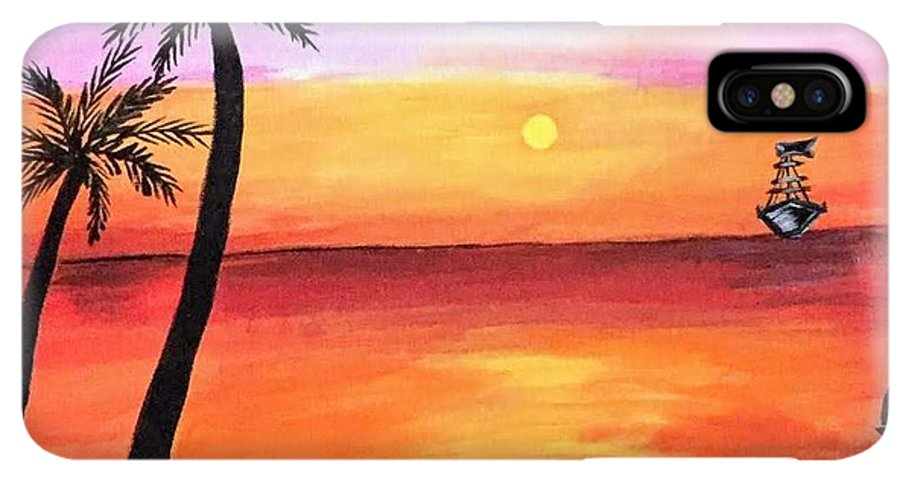 Canvas IPhone XS Max Case featuring the painting Scenary by Aswini Moraikat Surendran