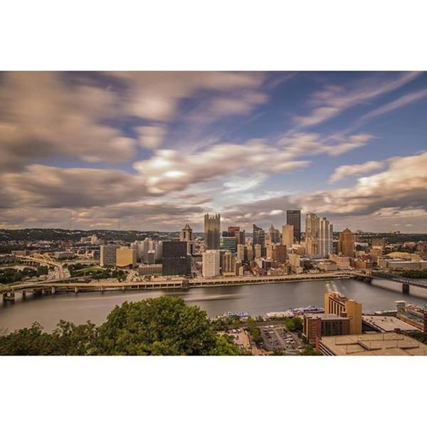 Bridge Poster featuring the photograph Pittsburgh Long Exposure Skyline. The by David Haskett II