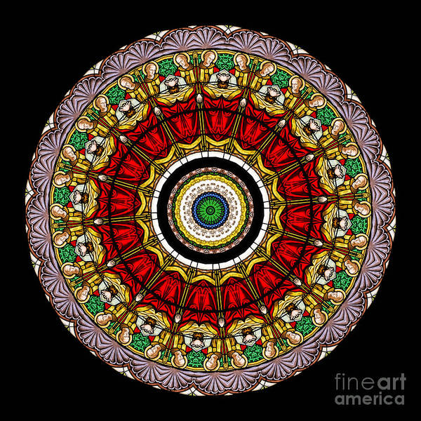 Abstract Poster featuring the photograph Kaleidoscope Stained Glass Window Series by Amy Cicconi