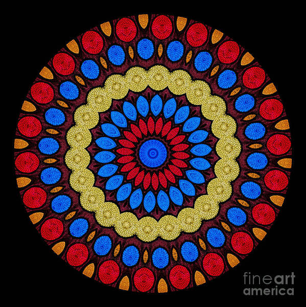 Abstract Poster featuring the digital art Kaleidoscope Of Colorful Embroidery by Amy Cicconi