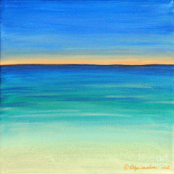 Beach Caribbean Paintings Poster featuring the painting Shimmering Sea by Robyn Saunders