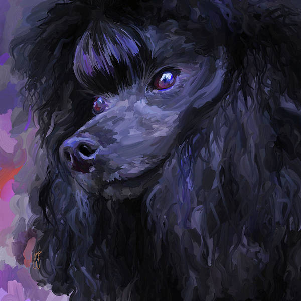Black Poster featuring the painting Black Poodle - Square by Jai Johnson