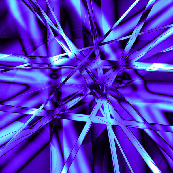 Abstract Poster featuring the digital art Blue Ice by Carl Perry