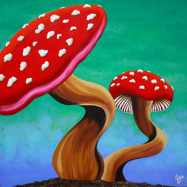 Mushroom Poster featuring the painting Bobbi by Chris Fifty-one
