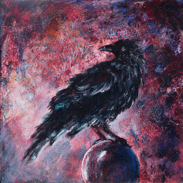 Raven Poster featuring the painting Grim And Ancient Raven by Sandy Applegate
