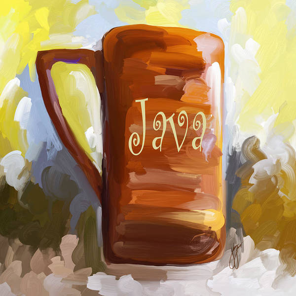 Coffee Poster featuring the painting Java Coffee Cup by Jai Johnson